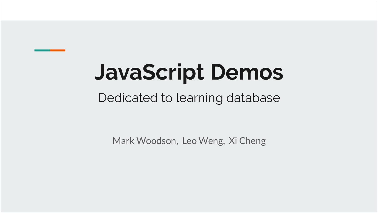 [PRESENTATION] Learning Database Management Protocols via JavaScript Demos (I)